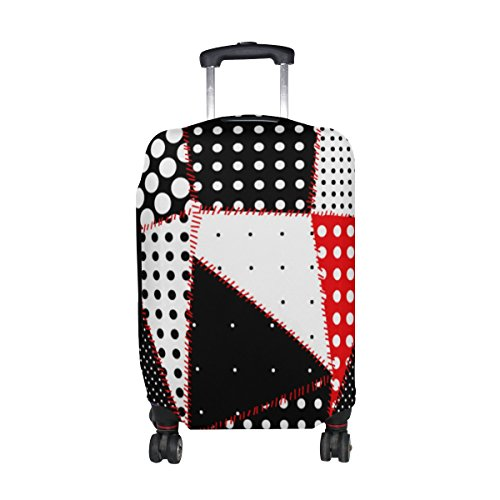 ALAZA Negro Blanco Rojo lunares y Sutura línea cubierta de impresión equipaje cabe 22-24 pulgadas maleta de viaje Spandex protector