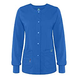 Adar Medical Uniforms Indulgence Jr. Fit Multi Pocket Hospital Nurse Warm-up Scrub Jacket - 4216 - Royal Blue - M