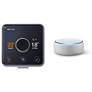 Hive Active Heating and Hot Water Thermostat without Professional Installation + All-new Echo Dot (3rd Gen) - Sandstone Fabric
