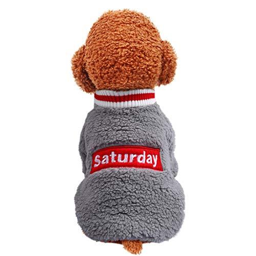 Kleine Haustier Hundekleidung Hawkimin Welpen Brief Bestickt Polyester T-Shirt Weste Mode Pullover, warme Hund Pullover Cat Kleidung, Fleece Mantel Haustierkleidung Kleidung -