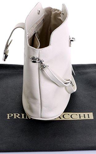 Vero cuoio italiano morbido o effetto struzzo, attraversare il piccolo corpo o spalla borsetta.Include una custodia protettiva marca Bianco (crema)