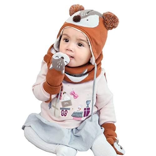 Azarxis Kinder Strickmütze Warme Beanie Winter Mütze, Schal und Winter Handschuhe mit Fleecefutter für Mädchen Jungen 1-4 Jahre (Orange)