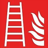 Intratec Brandschutzzeichen Feuerleiter Sicherheitsschild Warnschild 200x200mm aus Selbstklebendem PVC langnachleuchtend Betriebsausstattung