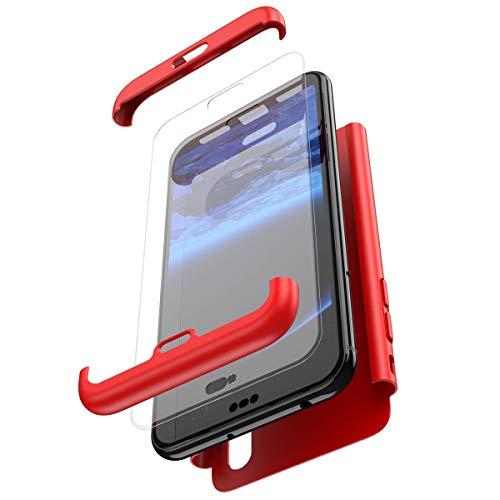 Robinsoni Funda Compatible con Xiaomi Redmi Note 6 Pro Funda de PC híbrida 360 Grados Protección Case + Pantalla de Cristal Templado 3 in 1 Anti-Arañazos Carcasa Silicona Case Teléfonos Móviles Rojo