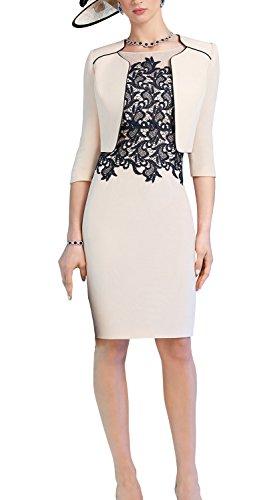 ShineGown Hellrosa Spitze Applique Pencil Kleid mit kurzen Satin Jacke für Hochzeit Mutter der Braut Bräutigam (Licht Rosa, 46) (Mutter Des Bräutigams Kleider)
