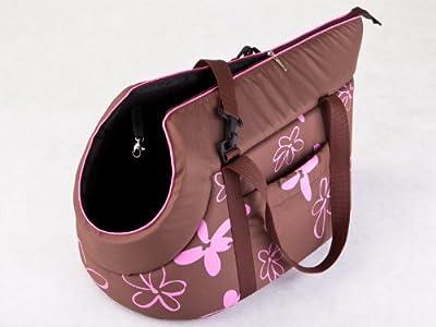 HOBBYDOG Gate BZW9Transport Bag for Dog/Cat, 27x 25x 43cm brown with floral design by Hobbydog
