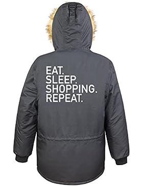 Eat Sleep Shopping Repeat Parka Girls Nero Certified Freak