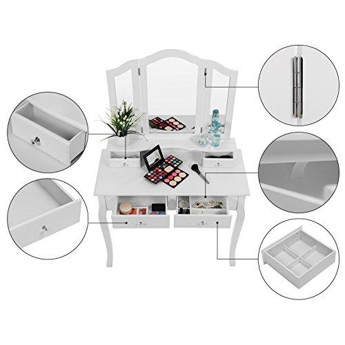 Songmics Schminktisch 3 Spiegel mit Hocker u. 4 Schubladen inkl. 2 Stück Unterteiler, Kippsicherung,weiß RDT07W - 4