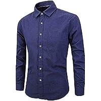 Botón de Manga Larga para Hombre, Color Puro, Camisa de Gran tamaño, Blusa Superior Informal