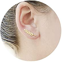 141635780d57 Rivertree Pendientes de oro con forma de hoja de oliva para oreja de  escalada y espiral