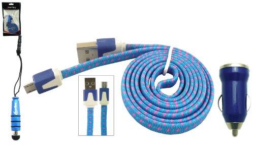 Emartbuy® GeflochtenesflachTrioPackfür Mobistel Cynus E8 5 Zoll Smartphone - Blau 1 Ampere USB Autoladegerät + Blau Mini Eingabestift + Geflochten Blau/Rosa Flache Micro USB Kabel