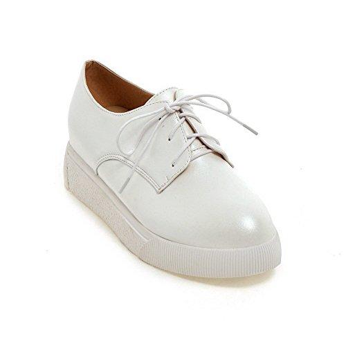 Senhoras Allhqfashion Pu Menores Vendas Ao Redor Perto Rendas Toe Bombas Sapatos Brancos