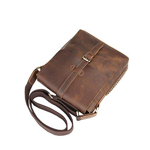 Othilar Büffelleder Herren Damen klein Tasche Handtasche Schultertasche für IPad Alltag Reise Freizeit Braun