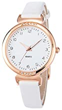 Women's Watches White Ladies Watches Rose Gold Case with White Leather Strap Diamond Bezel Arabic Number Wrist Watch Simple Fashion