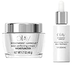 Olay Regenerist Luminous Tone Perfecting Cream, 1.7 oz. + Olay Regenerist Luminous Tone Perfecting Treatment, 1.3 Fl Oz + Makeup Blender