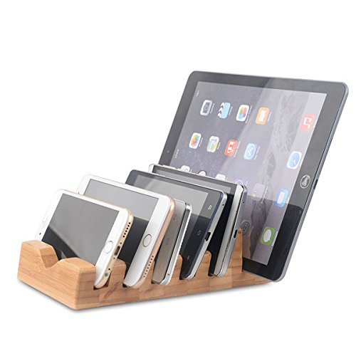 ROUHO 6 In 1 Natural Wood Charging Station Docking Organizer for Tablet Cell Phone Cell-docking-station