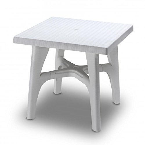 Ideapiu Table carrée 80 x 80 Blanc Lin, Table rotin synthétique, Table tressé rotin