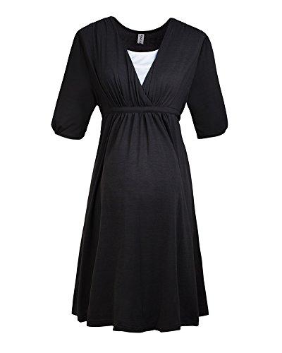 ZongSen Donna Elegante Scollo A V Manica Corta Prémaman Per L'Allattamento Vestito Nero L