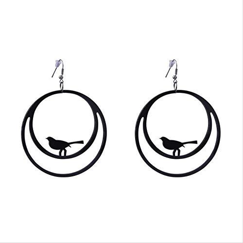 LXMS Ohrring Punk Persönlichkeit Schwarz Acryl Kunst Geometrische Ohrringe Lustige Klavier Vogel Abstrakte Ohr Baumeln Ohrringe für Frauen Kühlen Schmuck
