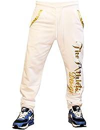 Herren Sporthose 100% Baumwolle Jogginghose Trainingshose für Damen und Herren mit aufdruck am Hosenbein