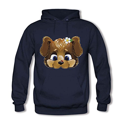 Adult Pullover Hooded Sweatshirt - Women's Cartoon Baby Brown Bear Girl Pattern Casual Long Sleeve Tops Navy XL