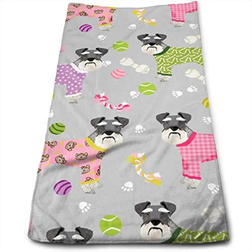 Schnauzers In Jammies Cute Dogs In Pajamas Pyjamas - Hand Towels Dishcloth Floral Linen Hand Towels Super Soft Extra Absorbent for Bath,Spa and Gym 12