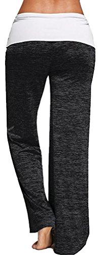 EmilyLe Donne morbida coulisse gamba larga a vita alta lungo allentati pantaloni casuali sopra Dimensioni Gym pantaloni di yoga Grigio scuro