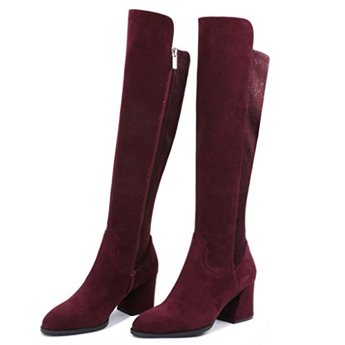 Low Red Riding donna dimensioni Calf Ginocchio Biker Wide Stivali Inverno da Stivali alti piccole RED 32 Ginocchio di Style Ladies 32 Heel qxAXSBw