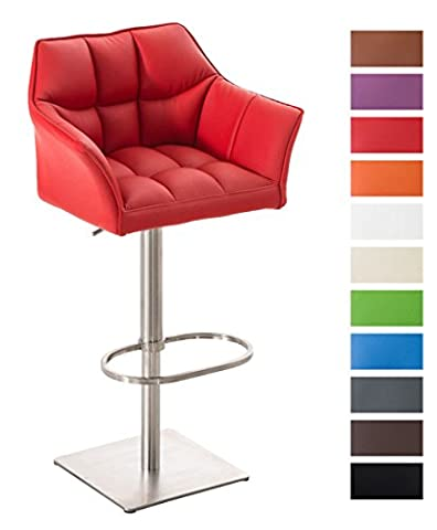 CLP Stainless steel bar stool DAMASO E with backrest and armrests, height adjustable, swivel function red