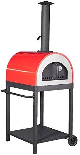 Forno a Legna per Pizza in Acciaio da Esterno Barbecue Giardino con Refrettario