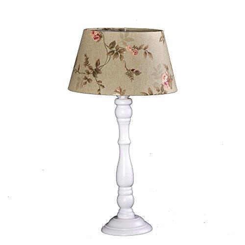 Tischleuchte Shabby chic Boston Weiß 8005328 Lampenschirm Leinen Grün Blumen Dekor -