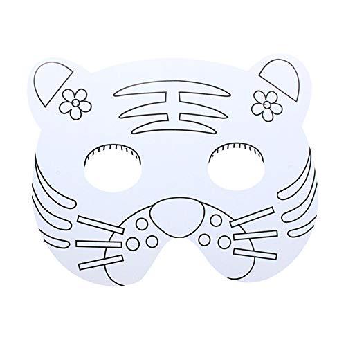 SMARTRICH Maske für Kinder, Tier-Masken, Weiß, Tiger, 27 * 17