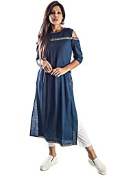 Bliss Navy Blue Cold Shoulder Kurta With Zarri Lace