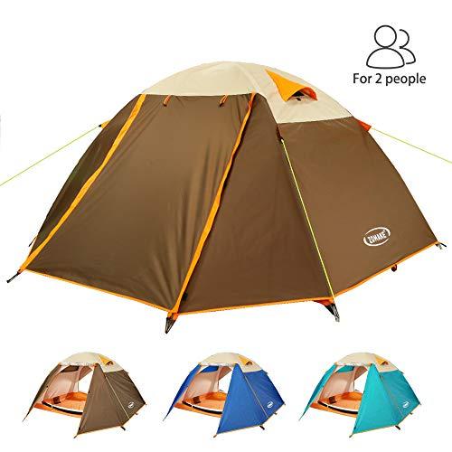 ZOMAKE Leicht Trekkingzelt für 2 Personen Wasserdicht,3-4 Saison Camping Zelt für Trekking,Outdoor,Festival (Braun)