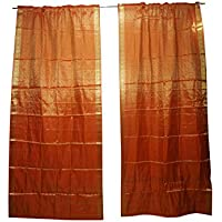 Mogul Interior 2 Indian Silk Sari Orange Organza Party Decoration Door Curtains 96x44