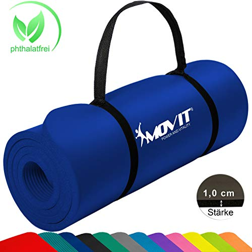 MOVIT Pilates Gymnastikmatte, Yogamatte, phthalatfrei, SGS geprüft, 183 x 60 x 1,0cm, in Dunkelblau