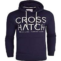Crosshatch Mens Designer Casual Hooded Logo Top Hoody Fleece Sweatshirt Jacket Overhead Pullover Medium Blue