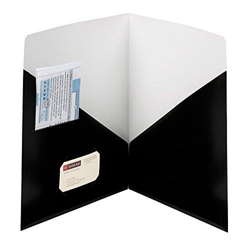 SMEAD modernes Classic two-pocket Datei Ordner, bis zu 50Blatt, Brief Größe, schwarz, 25pro Box (87990) (Colored Datei-ordner Smead)