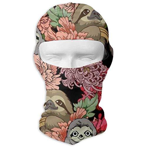 Preisvergleich Produktbild Aeykis Faultier-Blumenkunst-Muster-volle Gesichtsmaske-Ski,  der den Masken-Hals-Schutz für Männer-Frauen schützt