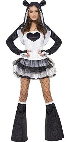 Fancy Me Damen SEXY Panda Tutu Chinesisches Neujahr Tier fest Halloween Kostüm Kleid Outfit UK 4-18 - Schwarz/weiß, 8-10 (Halloween Kostüme Uk Chinesische)