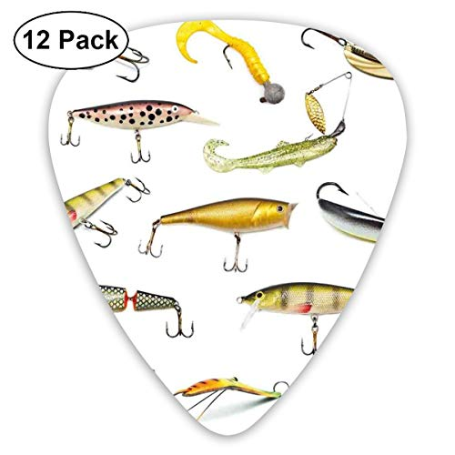 Guitar Picks 12-Pack,Fishing Tackle Bait For Spearing Trapping Catching Aquatic Animals Molluscs Design -