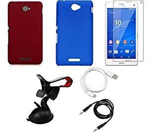 NIROSHA NIROSHA Tempered Glass Screen Guard Cover Case USB Cable Mobile Holder for Sony Experia C755 - Combo