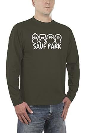 Touchlines Men's Long-Sleeved T-Shirt Sauf Park, B4117 -  Green - L