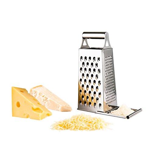 Edelstahl Multi-Reibe Auffangbehälter Parmesan-Hobel Käsereibe Turmreibe (Nussreibe, Gemüsereibe, Rohkost, Mehrzweckreibe)