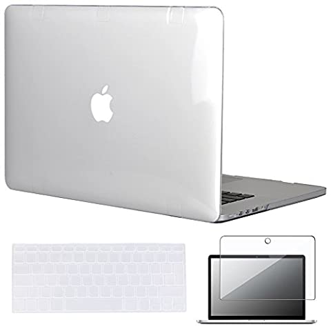 Topideal 3 in 1 Kristall Hard Shell Schutzhülle für Apple 39,1 cm/15 Zoll MacBook Pro mit Retina-Display (Modell: A1398) + Tastatur Cover + Displayschutzfolie