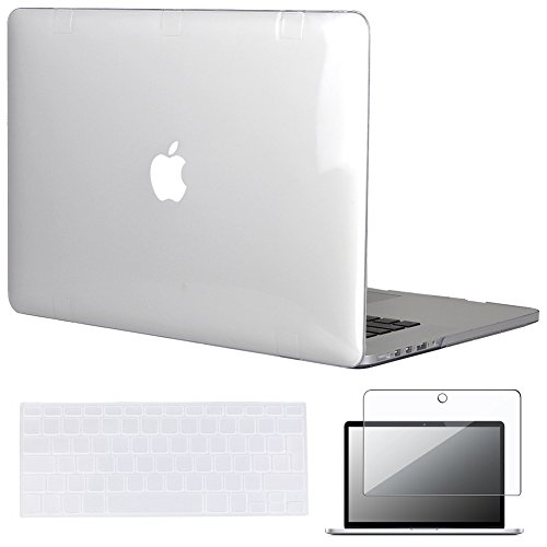Topideal 3 in 1 Kristall Hard Shell Schutzhülle für Apple 39,1 cm/15 Zoll MacBook Pro mit Retina-Display (Modell: A1398) + Tastatur Cover + Displayschutzfolie, Silikon Kunststoff, farblos, EU/UK Keyboard Version (Macbook Pro 15in Shell)