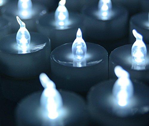Atcoe luz de las velas Velas ligeras del té de LED sin llama con pilas de boda para fiestas eventos decoraciones Tealight velas (Pack 24) , cold white
