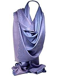 Calidad dos caras impresión auto relieve Pashmina sentir abrigo bufanda estola chal