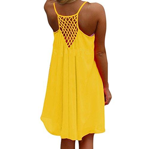 n Chiffon Strandkleid Solide Sommerkleid Frauen Ärmellos Strand Kleid Boho Halter Beiläufig Lose Tunika Blusenkleider Kurz Partykleid XS-XXXXL (Gelbe Tunika Kleid)