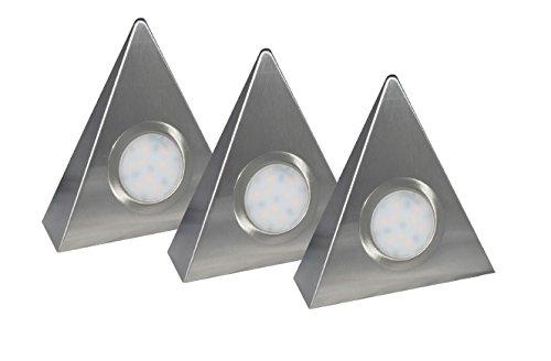 Aqua-Badshop LED-Dreieckleuchte DF-1927 3er Set mit Zentralschalter 3 x 2 Watt